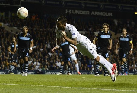Tottenham Hotspur's Clint Dempsey heads the ball to score a disallowed goal against Lazio during their Europa League soccer match at White H