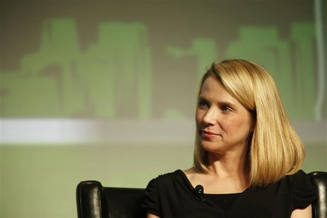 Yahoo! Chief Executive Marissa Mayer listens in a Startup Battlefield session during TechCrunch Disrupt SF 2012 at the San Francisco Design