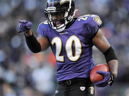 Baltimore Ravens free safety Ed Reed celebrates his fourth quarter interception against the Houston Texans during their NFL AFC Divisional P