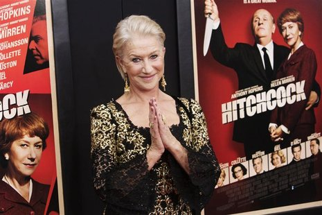 "Actress Helen Mirren attends the film premiere of ""Hitchcock"" in New York November 18, 2012. REUTERS/Andrew Kelly"