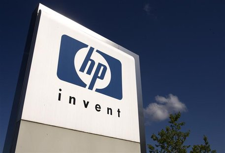 A HP Invent logo is pictured in front of Hewlett-Packard international offices in Meyrin near Geneva in this August 4, 2009, file photo. REU
