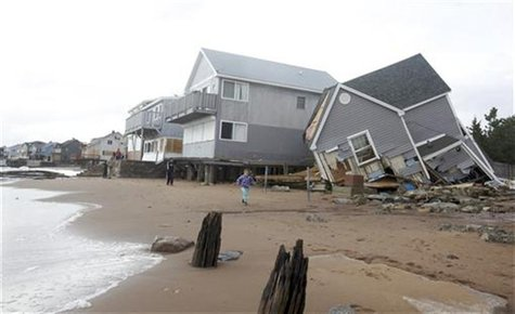 One of many homes badly damaged by Hurricane Sandy is pictured in the Cosey Beach neighborhood of East Haven, Connecticut October 30, 2012.