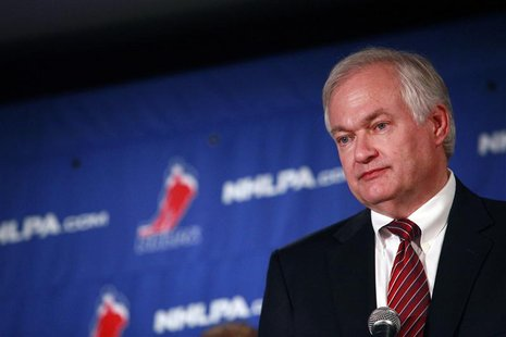 Donald Fehr, executive director of the National Hockey League Players' Association, speaks at a news conference in New York September 13, 20