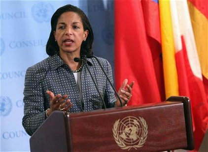 U.S. ambassador to the United Nations (U.N.) Susan Rice speaks with the media after Security Council consultations at U.N. headquarters in N