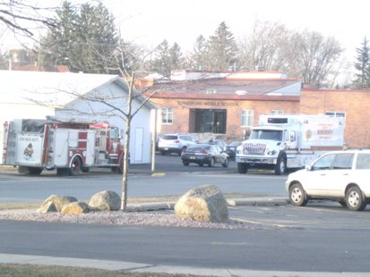 Emergency Vehicles in position around Stratford High School during bomb threat 11/20/12
