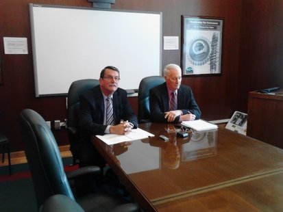 Mayors Jim Tipple and Ken Fabel discuss the upcoming assessment agreement between Schofield and Wausau, November 20 2012