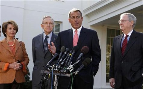 Speaker of the House John Boehner speaks to the press after a bipartisan meeting with U.S. President Barack Obama to discuss the economy in