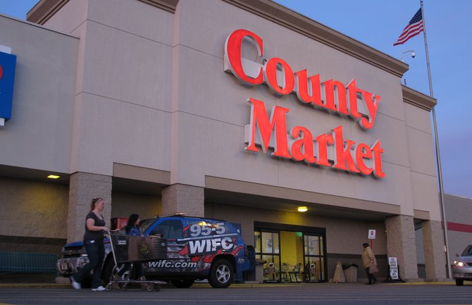 "Broadcasting live at County Market!! ""Testing one, two, three.."""