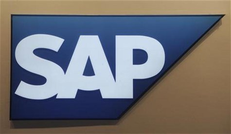Logo of German company SAP is pictured at the CeBit computer fair in Hanover, March, 6, 2012. The biggest fair of its kind will run to March