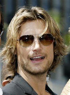 Gabriel Aubry attends ceremonies unveiling Halle Berry's star on the Hollywood Walk of Fame in Hollywood, California April 3, 2007. REUTERS/