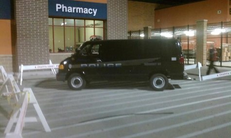 Sheboygan Police provide security at Sheboygan's south-side Wal-Mart Thursday night (Photo Courtesy David Arriens)