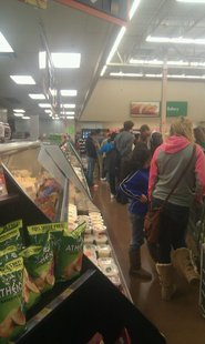 Shoppers wait in line for $25 X-Box games at Sheboygan's south-side Wal-Mart Thursday night.