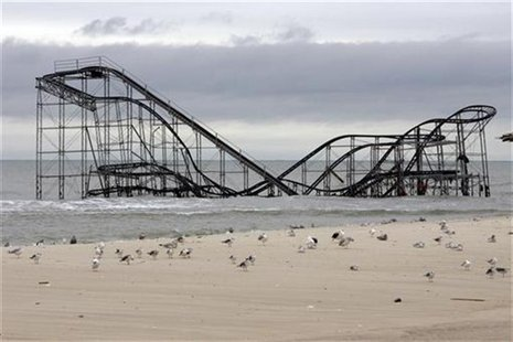 The extensive damage to an amusement park roller coaster in the aftermath of Hurricane Sandy is seen in Seaside Heights, New Jersey, Novembe