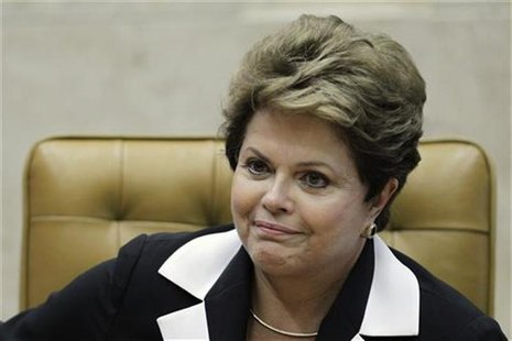 Brazil's President Dilma Rousseff participates in the ceremony of investiture for the new President and Vice-President of the Supreme Court,