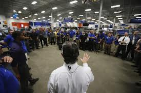 Store crew is briefed prior to the opening of the doors Thanksgiving evening.(Reuters)