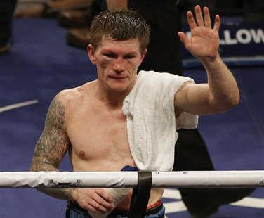 Britain's Ricky Hatton reacts after losing to the Ukraine's Vyacheslav Senchenko in their boxing match at the Manchester Arena in Manchester