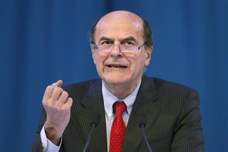 Italian PD (Democratic Party) secretary Pier Luigi Bersani delivers a speech during a political rally with European Socialists in Paris, Mar