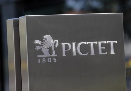 A sign bearing the logo of family owned private bank Pictet is pictured at the company headquarters in Geneva May 7, 2012. REUTERS/Denis Bal