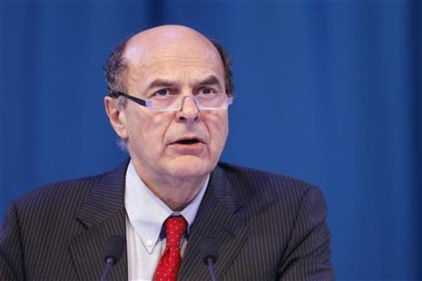 Secretary of the Italian PD (Democratic Party) Pier Luigi Bersani delivers a speech during a political rally with European Socialists in Par