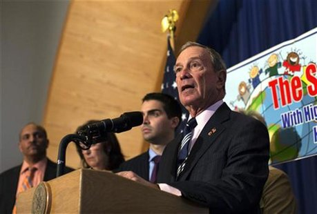 New York City Mayor Michael Bloomberg speaks during a press conference announcing the re-opening of 12 schools in the Rockaways and Brooklyn