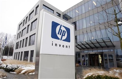 A logo of HP is seen outside Hewlett-Packard Belgian headquarters in Diegem, near Brussels, January 12, 2010. The management of HP announced
