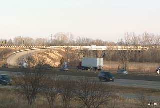 Vehicles travel around the Highway 41-441 interchange in the town of Menasha, Nov. 26, 2012. (courtesy of FOX 11).