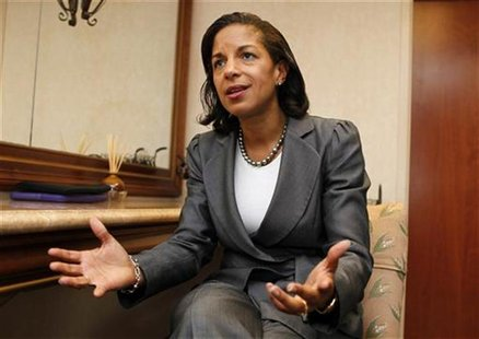 United States Ambassador to the United Nations Susan Rice speaks with Reuters at the B'Nai Torah Congregation in Boca Raton, Florida, in thi