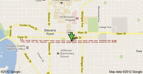 Ellis Street in Stevens Point, WI  Map courtesy of Google.