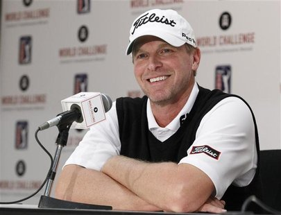 PGA golfer Steve Stricker answers a question about using a long putter during a media conference at the World Challenge golf tournament in T