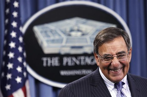 U.S. Defense Secretary Leon Panetta attends a joint news conference with Japan's Defense Minister Satoshi Morimoto (not pictured) after thei