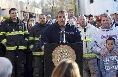 Governor Chris Christie holds a press conference at a Relief Center at the Joseph R. Bolger Middle School in the wake of Hurricane Sandy in