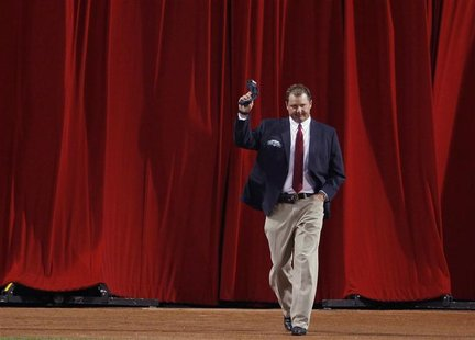 "Former Boston Red Sox pitcher Roger Clemens is introduced as a member of the ""All-Time Fenway Park Team"" before the start of American League"