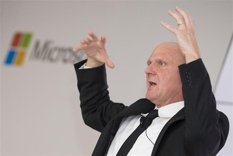 "Microsoft CEO Steve Ballmer talks about Microsoft's ""Schlaumaeuse"" (Clever Mice) education software as it is being introduced on the Windows"