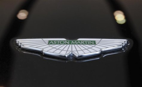 The logo of Aston Martin is seen on a car inside the company's showroom in Mumbai January 2, 2012.REUTERS/Danish Siddiqui