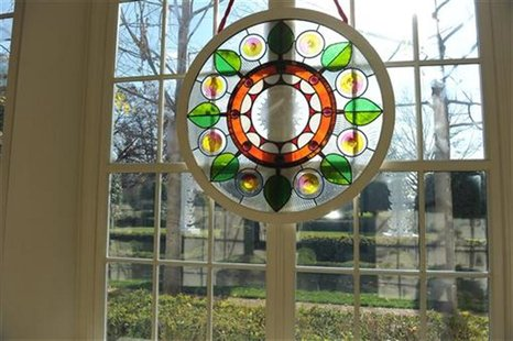 Chicago artist David Lee Csicsko designed stained glass windows decorating the grand entryway at the White House in Washington, November 28,