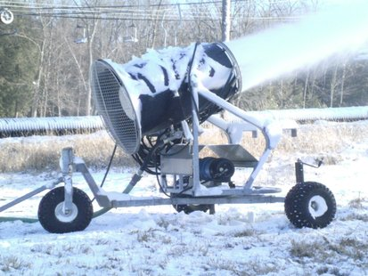 Snow making machine at ski area