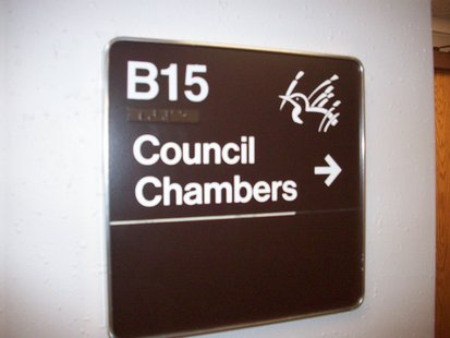 Marshfield Council Chambers entry sign
