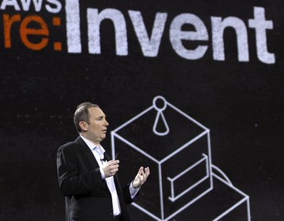 Amazon Senior Vice President Andy Jassy speaks during a keynote speech at the Re:Invent conference in Las Vegas, Nevada November 28, 2012. R