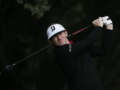 Brandt Snedeker tees off on the sixth hole during the Pro-Am round of the World Challenge golf tournament in Thousand Oaks, California, Nove