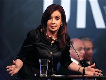 Argentine President Cristina Fernandez de Kirchner delivers a speech at the closing ceremony of the Union Industrial Argentina (UIA) annual
