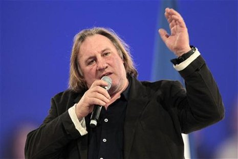 French actor Gerard Depardieu delivers a speech during a campaign rally for France's President Nicolas Sarkozy, candidate for the 2012 Frenc