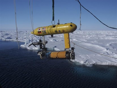 A free-swimming robot submarine, which is carried aboard the Australian Antarctic Division's icebreaker, Aurora Australis, is suspended from