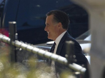 Former U.S. Republican presidential nominee Mitt Romney is pictured as he arrives at the White House for a private lunch with U.S. President