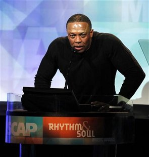 Record producer Dr. Dre speaks at the 24th annual ASCAP (American Society of Composers, Authors and Publishers) Rhythm and Soul Music Awards