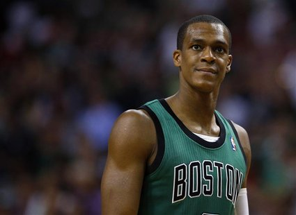 Boston Celtics guard Rajon Rondo waits during a free throw attempt in the second half of their NBA basketball game against the Oklahoma City