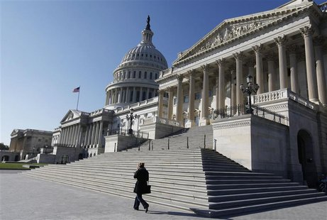 The U.S. Capitol Dome is seen behind the entrance to the U.S. Senate (R) on Capitol Hill in Washington, November 9, 2012. REUTERS/Larry Down