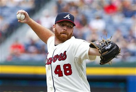 Atlanta Braves starting pitcher Tommy Hanson throws in the first inning during their MLB National League baseball game against the Washingto