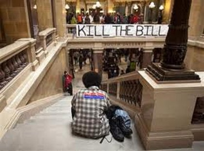 Protestors continue to occupy the State Capitol in Madison, Wisconsin February 27, 2011.  Credit: Reuters/Darren Hauck