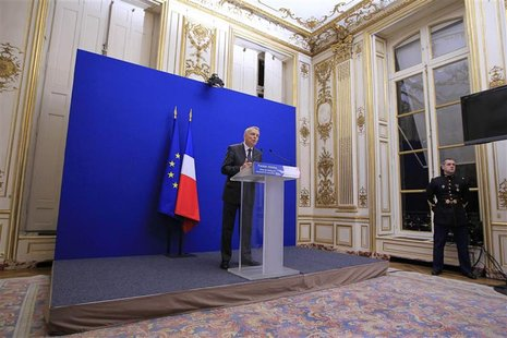 France's Prime Minister Jean-Marc Ayrault announces accords between the government and steelmaker ArcelorMittal and their Florange steelwork
