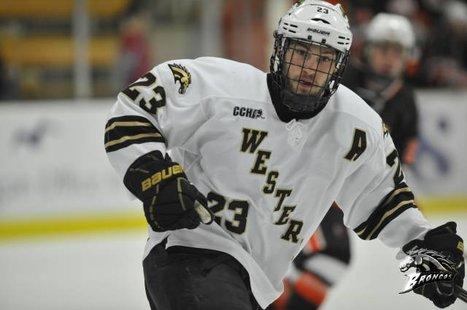 WMU senior forward Dane Walters, who scored the winning goal in the Broncos' 4-2 victory over Northern Michigan at Lawson Arena on Friday, November 30, 2012 (Photo courtesy of www.wmubroncos.com)